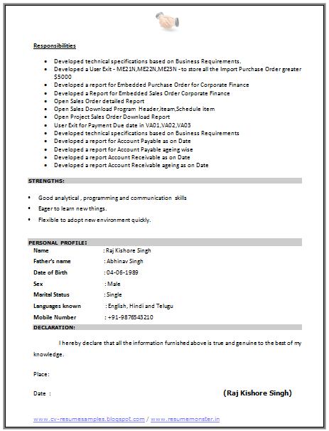 Cv Format For A Sap Consultant 2 Career Pinterest Resume Cv