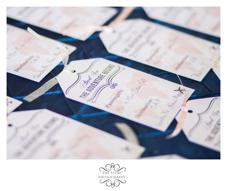 Place Cards for Travel themed wedding The Ashton Depot Fort Worth Wedding