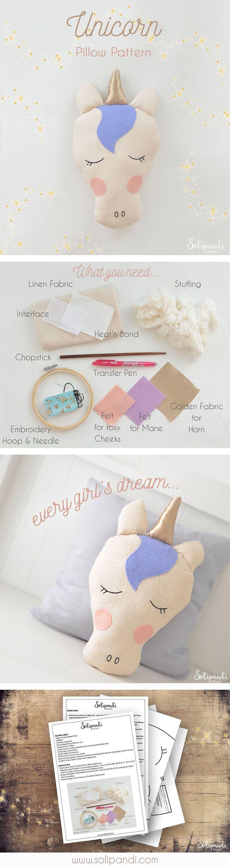 unicorn pillow sewing pattern diy