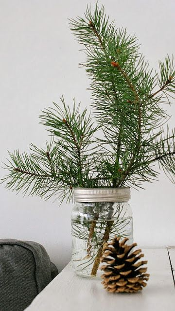 Every Christmas Tree Doesn T Have To Be A Big Costco Sized Production Here Are Some Lovely Idea Christmas Branches Leftover Christmas Tree Tree Branch Crafts