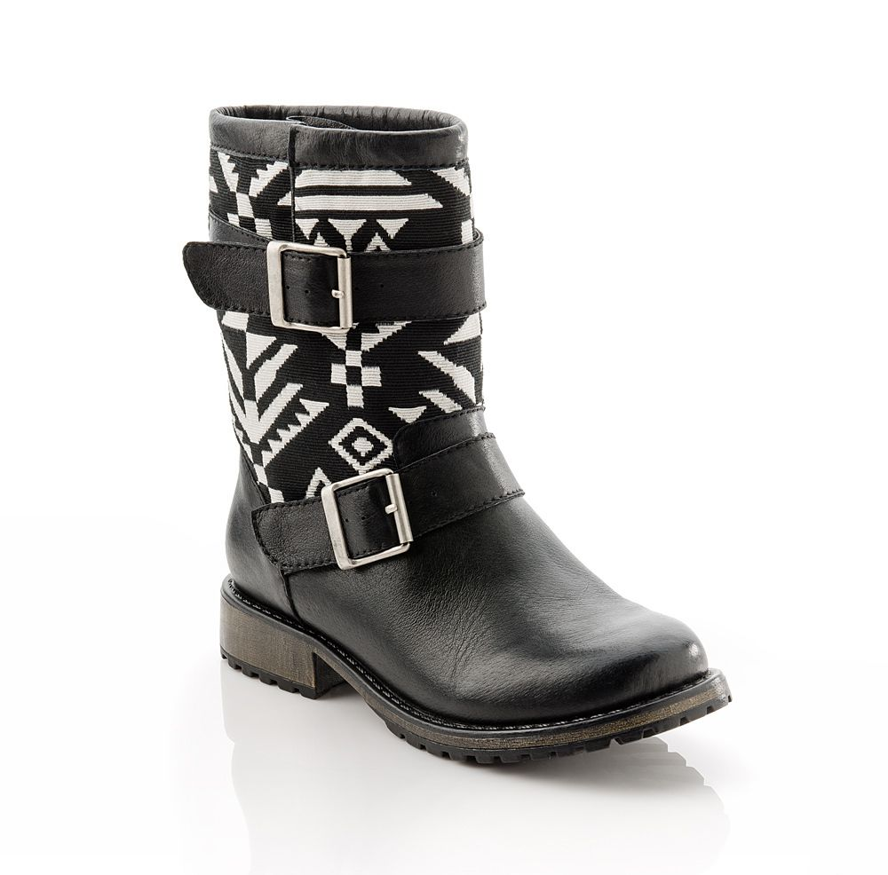 black aztec leather boots