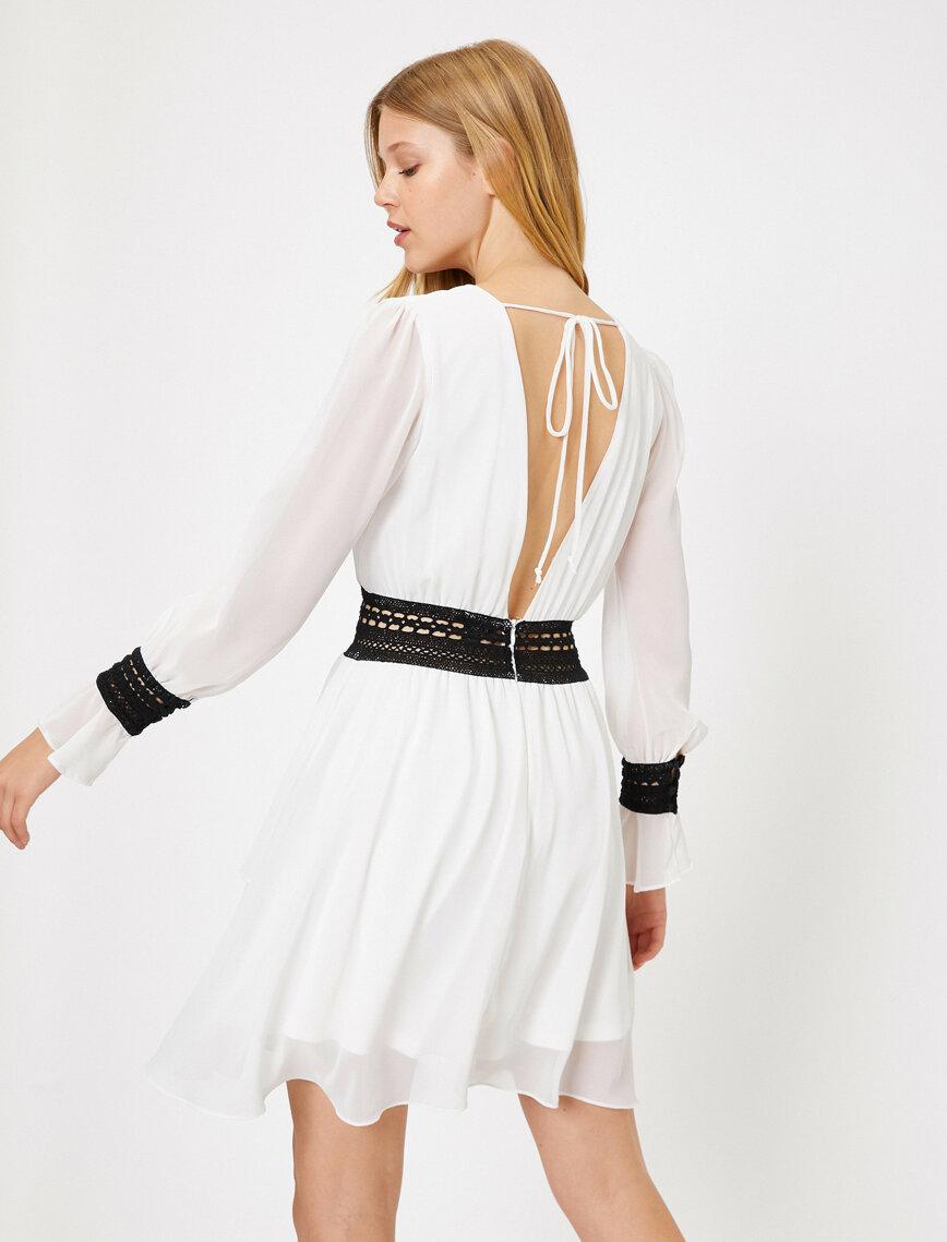 Dantel Detayli Elbise 2020 Elbise Midi Elbise Mini Elbiseler