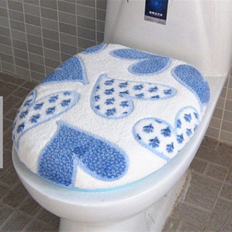 HuaYang Washable Soft Lid Top Cover+O Ring Mat Bathroom Warmer Toilet Seat Pad Blue 2Pcs//Set