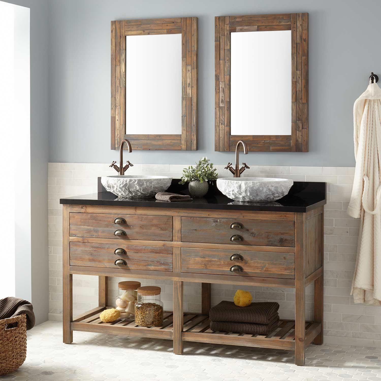 60 Benoist Reclaimed Wood Console Double Vessel Sink Vanity