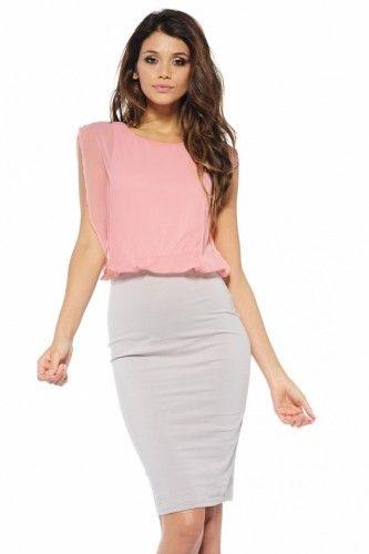 Contrast Chiffon Midi Peach Dress