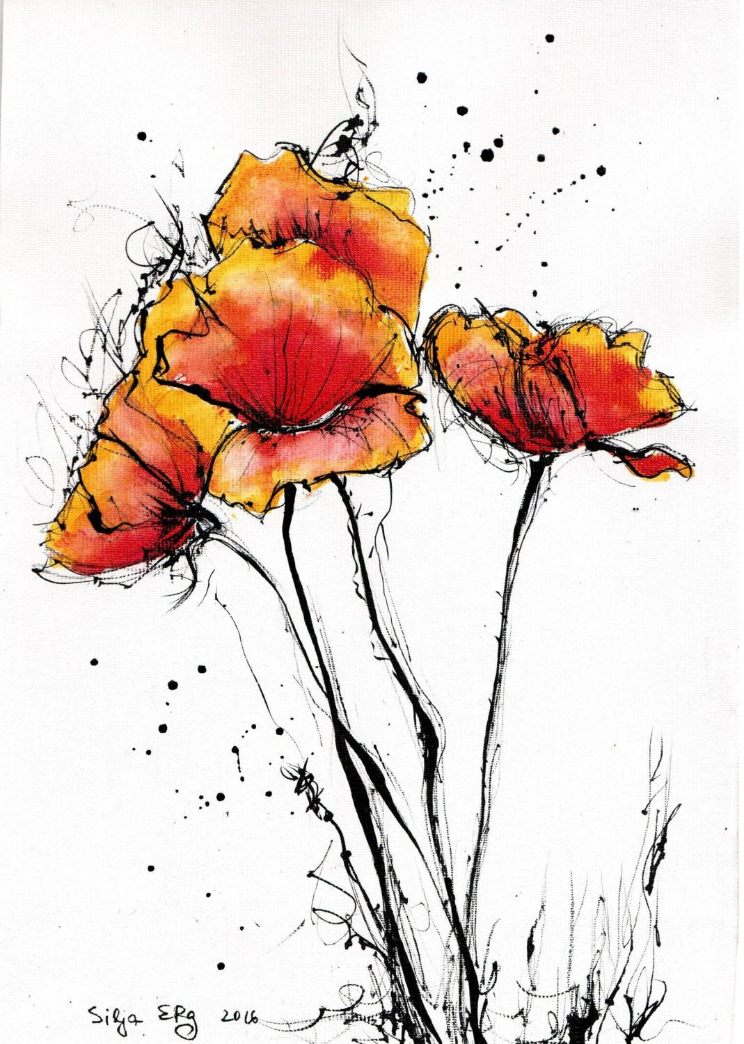 Ink drawing on canvas a xcm abstract red poppies flower