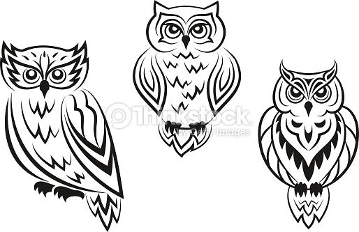 Black And White Owl Bird Tatoos In Silhouetted Style
