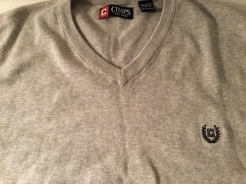Chaps Ralph Lauren Sweater Vest Men's Size XL Gray 100