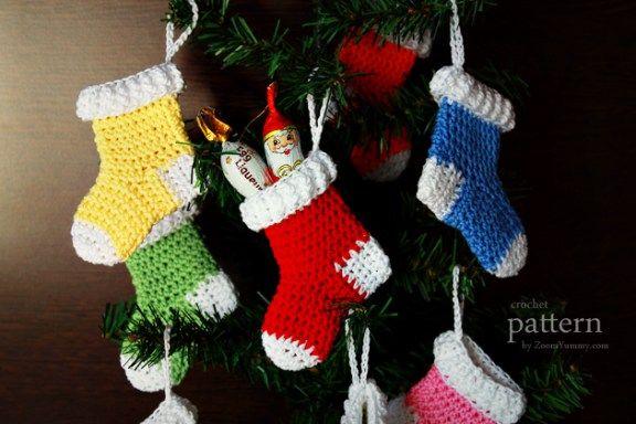 Crochet Pattern Crochet Christmas Stocking Ornaments Crochet