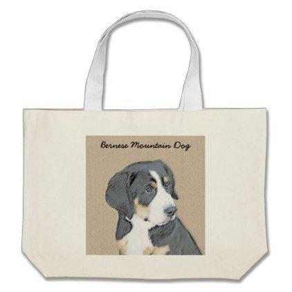 #Bernese Mountain Dog Puppy Large Tote Bag - #bernese #mountain #dog #puppy #dog #dogs #pet #pets #cute #bernesemountaindog