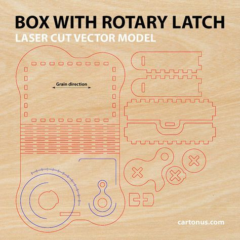 Wooden Box With Rotary Latch Laser Cut Project Plan  Cartonus