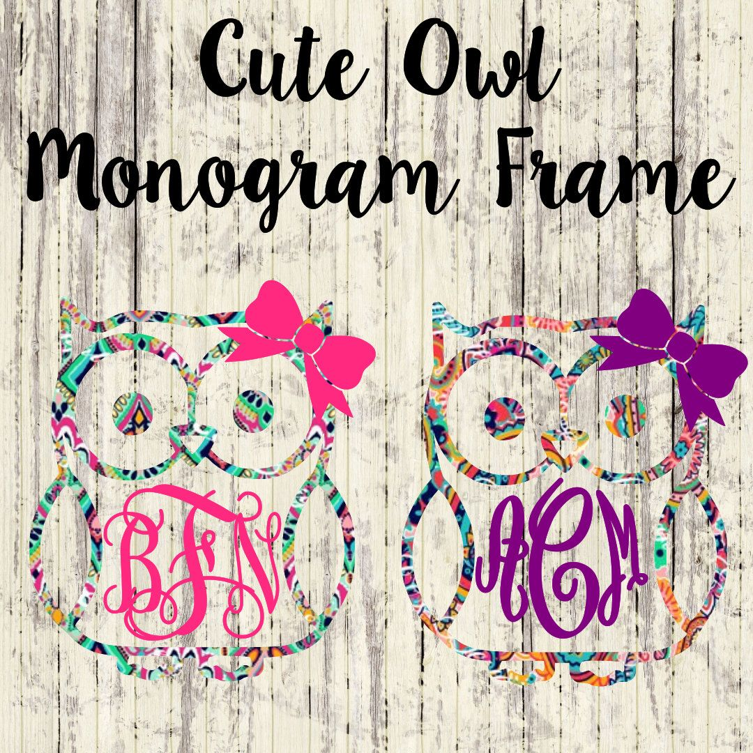 Cute Owl Monogram Car Decal Vinyl Decal Yeti Cup Monogram - Owl custom vinyl decals for car