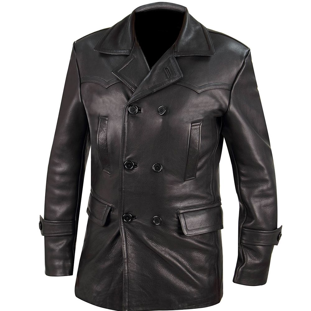 MENS DOCTOR WHO BLACK LEATHER COAT JACKET GERMAN NAVAL MILITARY STYLE PEA COAT
