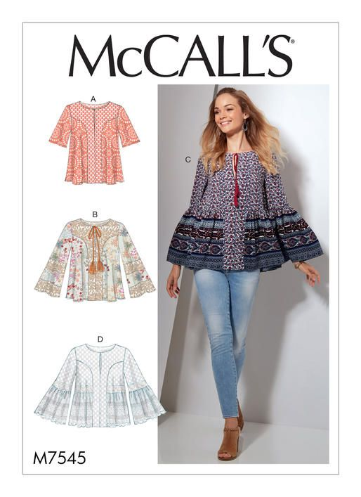 McCall\'s tops sewing pattern. M7545 Misses\' Split-Neck Tops with ...