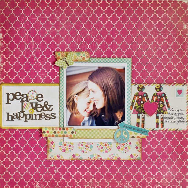 Peace, Love, & Happiness layout using Simple Stories Fabulous.