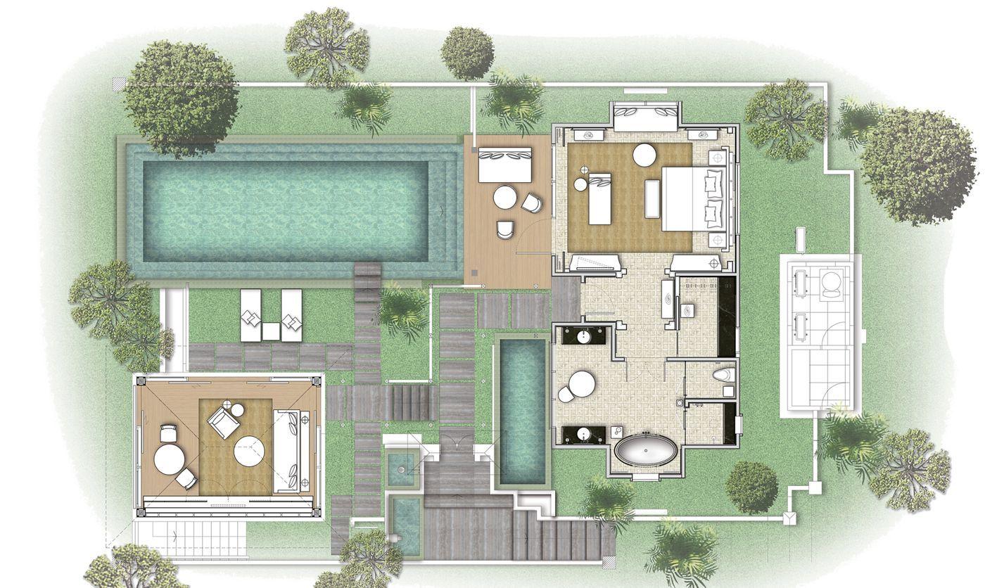 Mandapa A Ritz Carlton Reserve In Ubud Bali One Bedroom Pool Villa 4630 Sq Ft 431 Sq M Hotel Plan Resort Plan Hotel Design