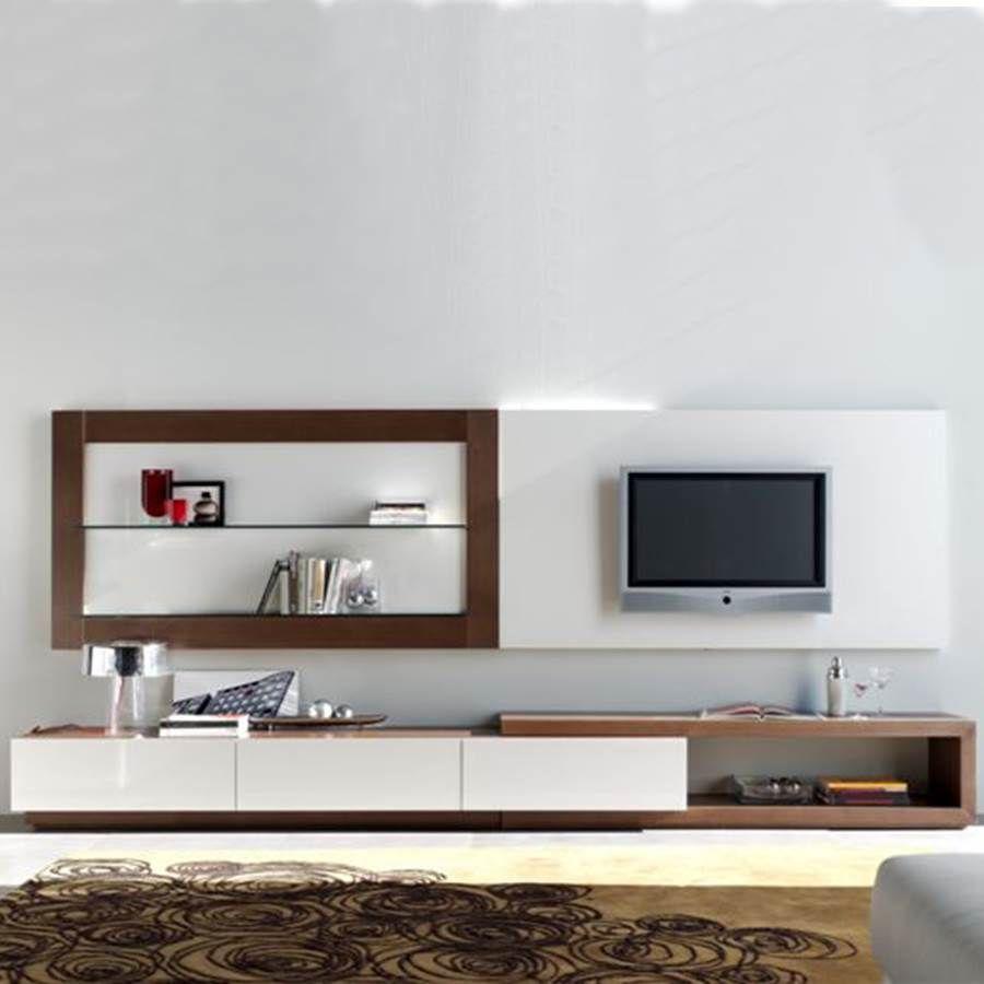 Mueble de televisi n moderno realizado en madera de roble for Muebles modulares living