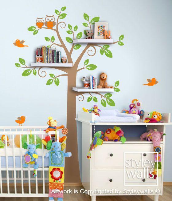 Children Wall Decal Shelves Tree Decal  Shelf Tree Wall Decal Nursery Kids  Decal Wall Sticker