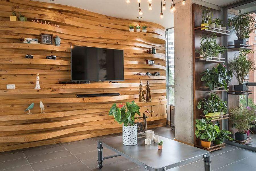 Wohnzimmer Holzwand ~ Wärme und textur einzigartige wohnzimmer holz akzente an den