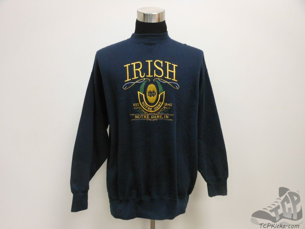 Vtg 90s Midwest Embroidery Notre Dame Fighting Irish Crewneck