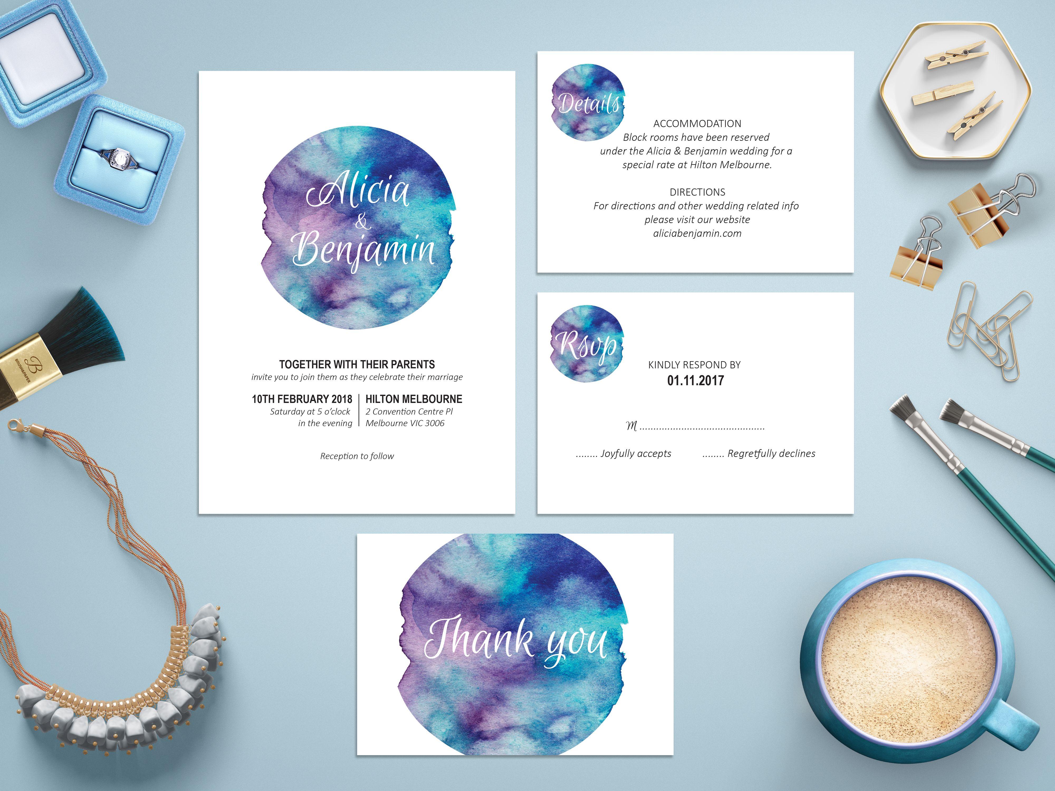 Purple Blue Watercolor Wedding Invitation Suite, Blue Wedding Theme ...