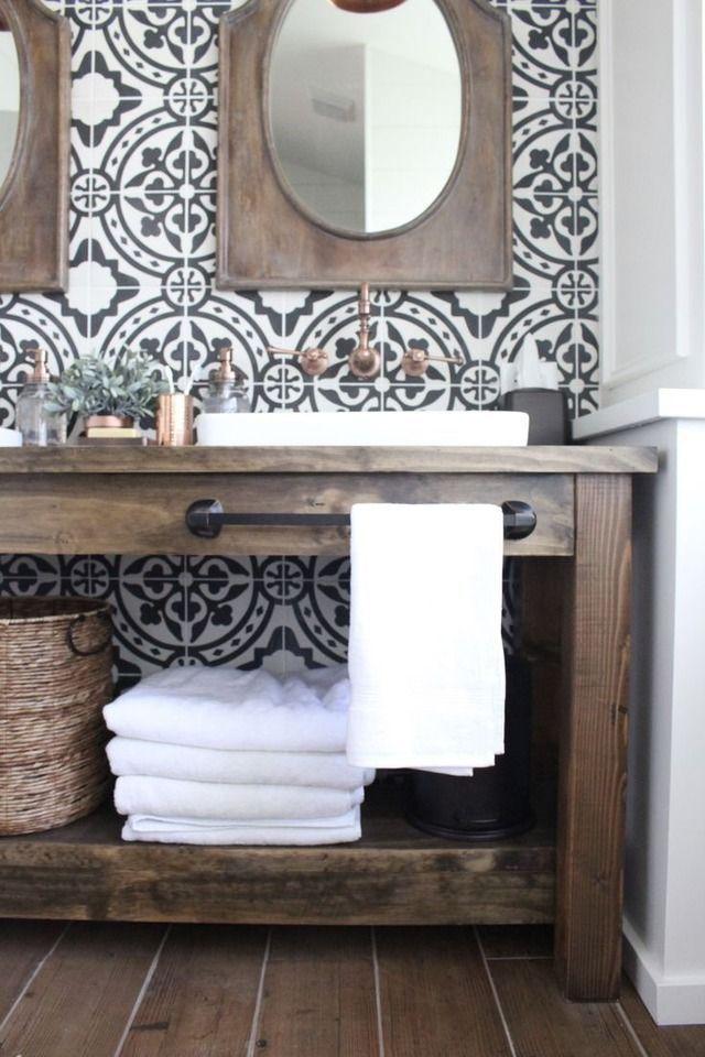 Fresh Plus Rustic Bathroom With Patterned Tile Backsplash Bathroom Farmhouse Style Farmhouse Master Bathroom Bathroom Vanity Remodel