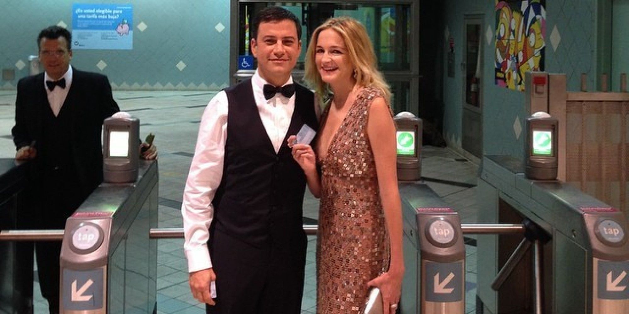 Jimmy Kimmel rode the LA metro rail to the Nokia Theater for the Emmys!