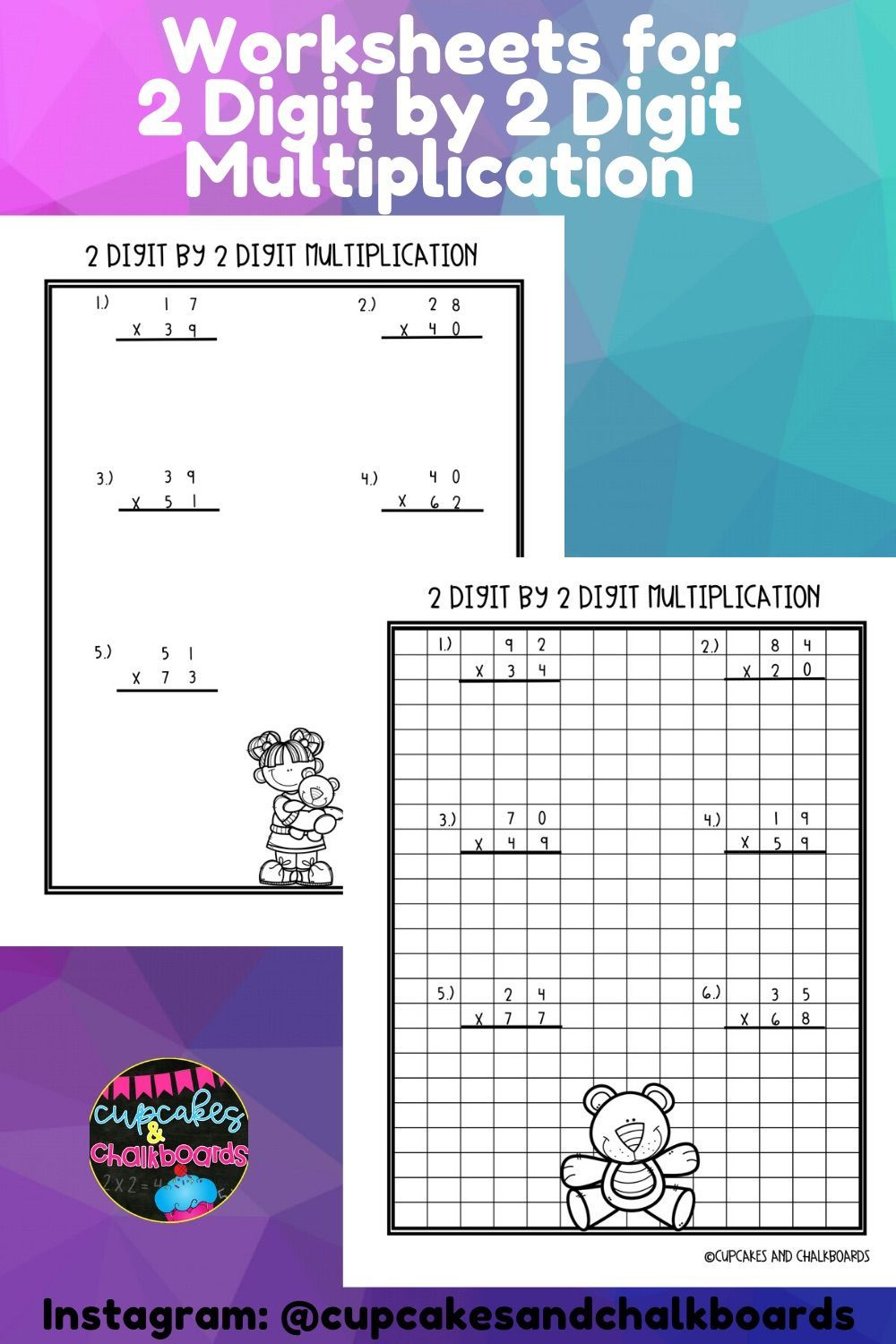 2 Digit by 2 Digit Multiplication Worksheets Math lesson