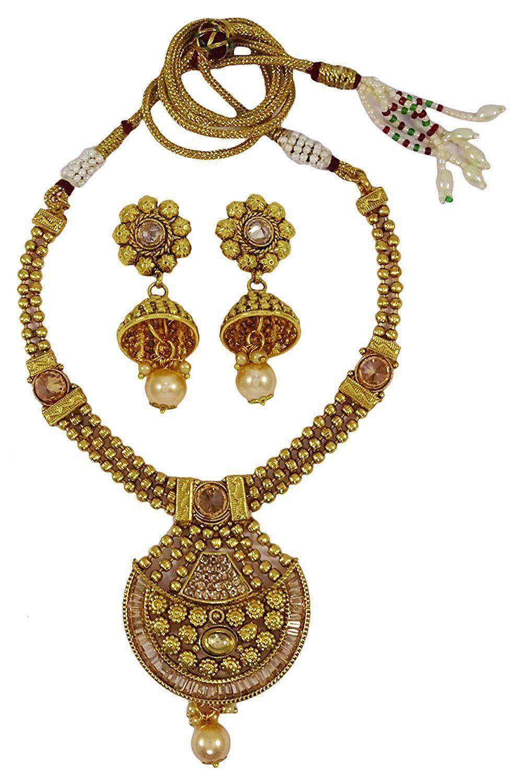 Matra goldtone kundan polki necklace earrings set traditional women