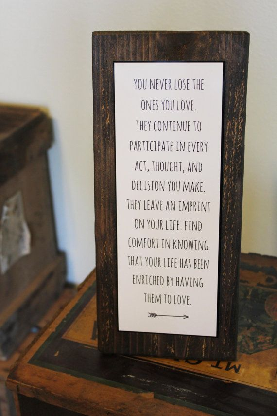 Memorial Sympathy Sign Rustic Decor Loss Of A Loved