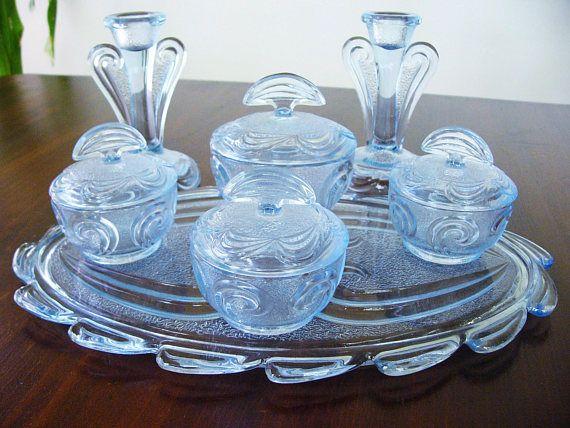 BLUE GLASS DRESSING TABLE SET ... BAGLEY ... 1930S A superb Bagley ...
