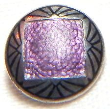 ANTIQUE 1900-1920'S ART DECO LAVENDER BASSE TAILLE+BLACK CHAMPLEVE ENAMEL BUTTON