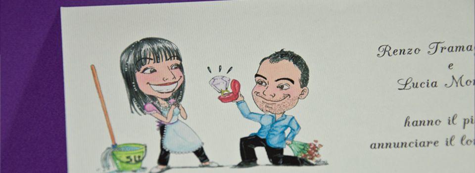 Partecipazioni Matrimonio Caricature.Partecipazione Avory Partecipazioni Con Caricatura Caricature