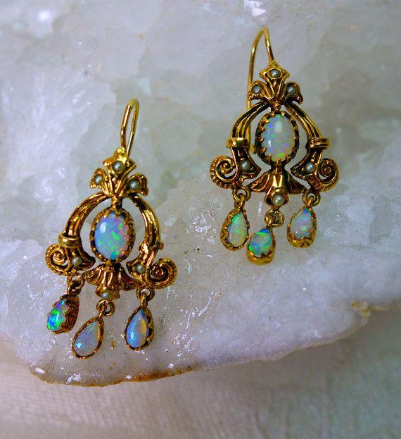 Antique Australian Opal 14k Gold Chandelier Earrings Victorian Revival Seed Pearl Accents Now 999 99