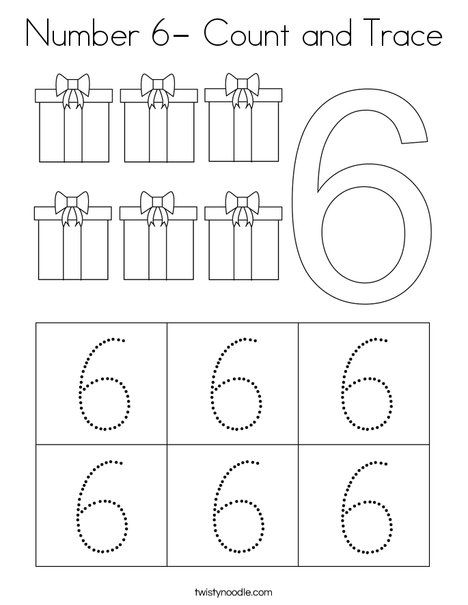 Number 6- Count and Trace Coloring Page - Twisty Noodle in ...