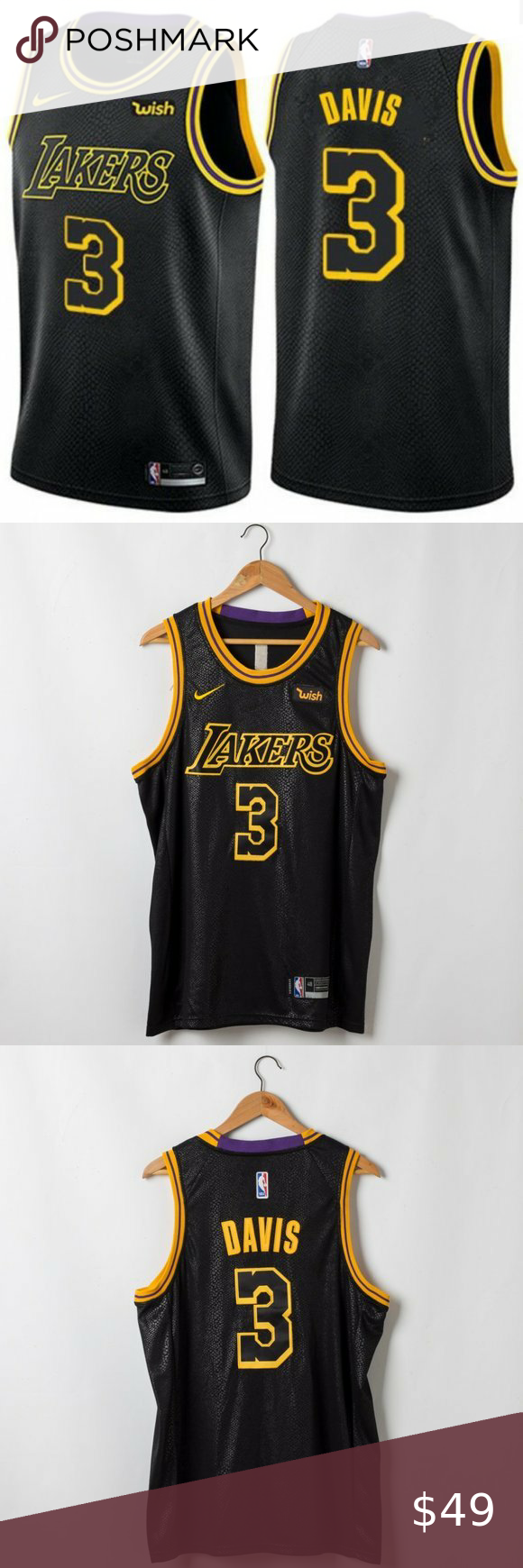 Anthony Davis Los Angeles Lakers Black City Jersey Brand New with ...