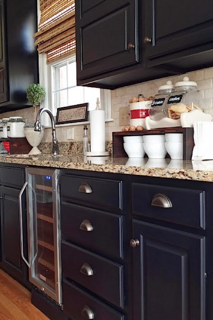 Painted kitchen cabinets with General Finishes Lamp Black Milk Paint ...