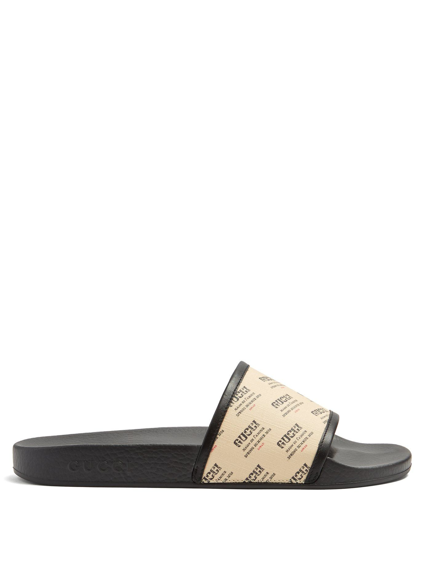 f40b7614fa9 GUCCI LOGO-PRINT LEATHER-TRIMMED RUBBER POOL SLIDES.  gucci  shoes ...