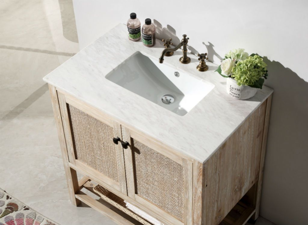 800 With Top Abel 36 Inch Rustic White Wash Bath Vanity Marble Top