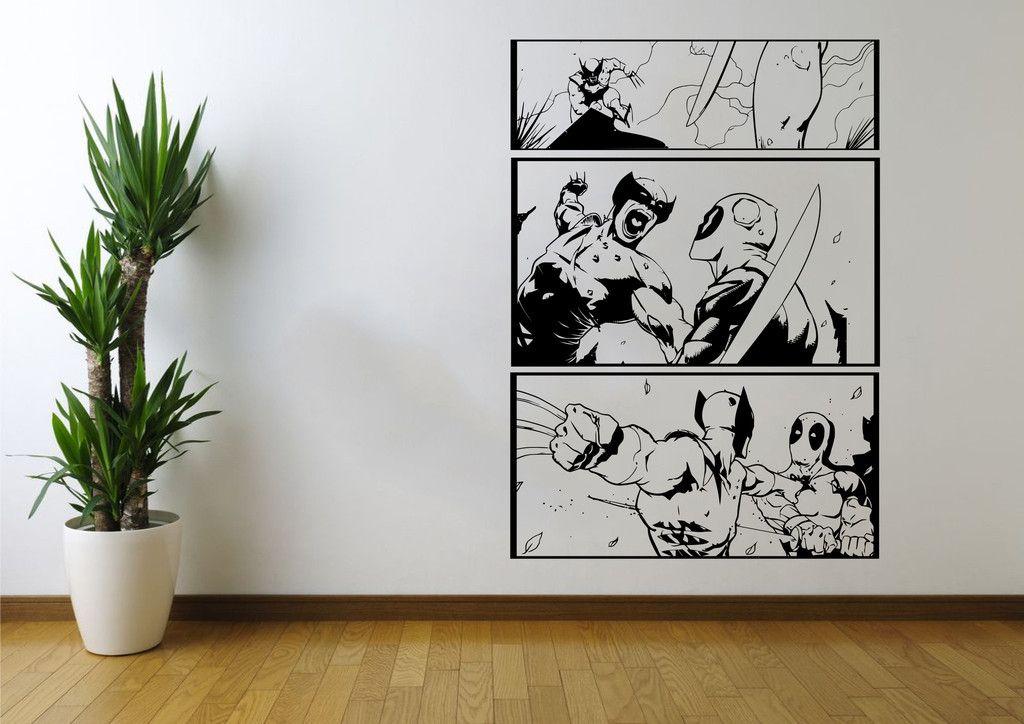 Wolverine vs Deadpool 3 Panel Wall Art Stickers - iwallstickers - 2