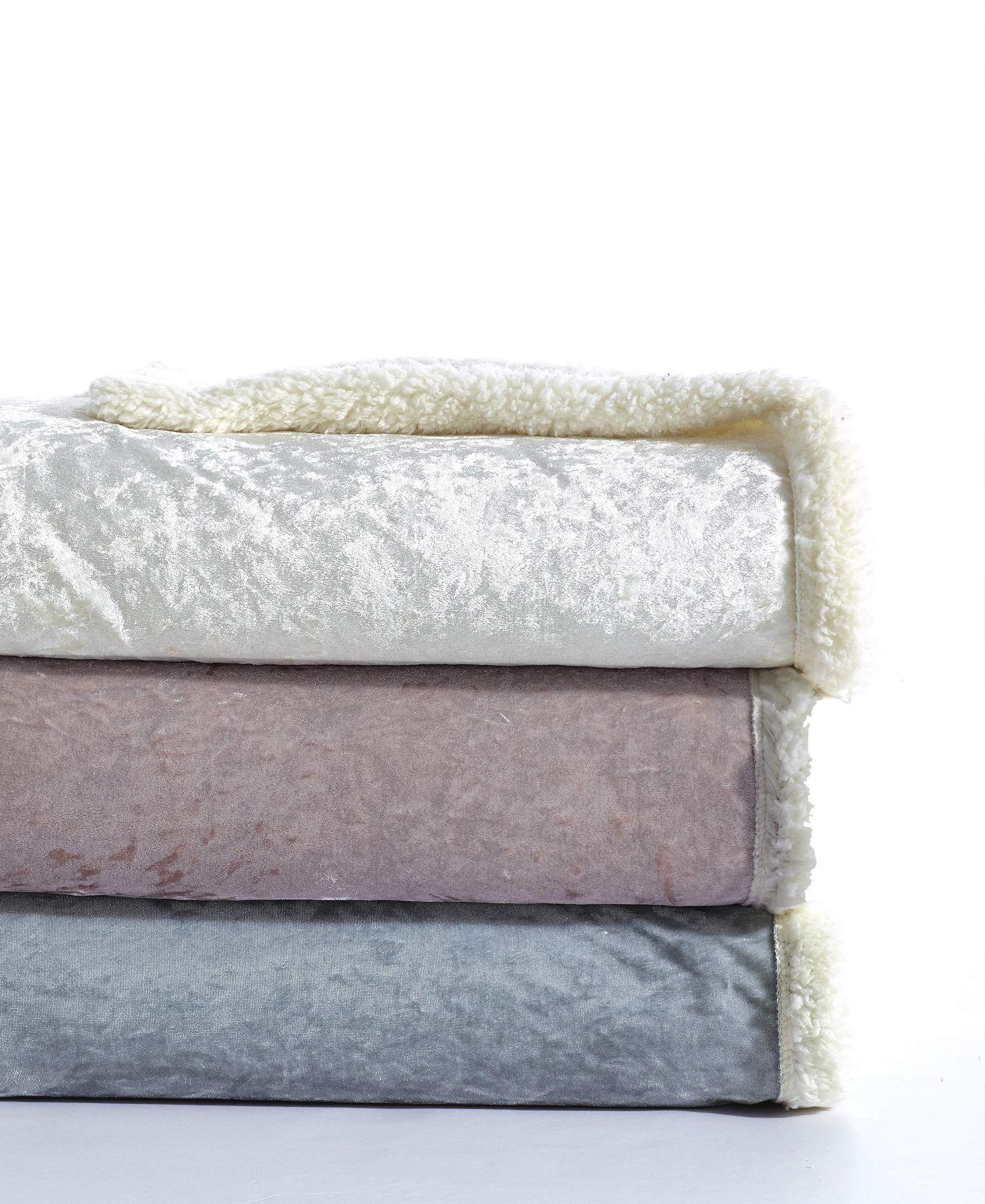 De moocci velvet crush sherpa throw blanket for couch 50 x