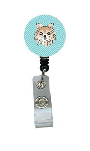 Checkerboard Blue Chihuahua Retractable Badge Reel BB1189BR