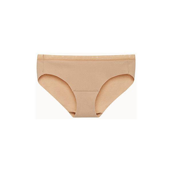 DKNY Laser-cut bikini panty ($10) ❤ liked on Polyvore featuring intimates, panties, dkny panty, bikini panties, cotton jersey, sheer bikini and see through pantys