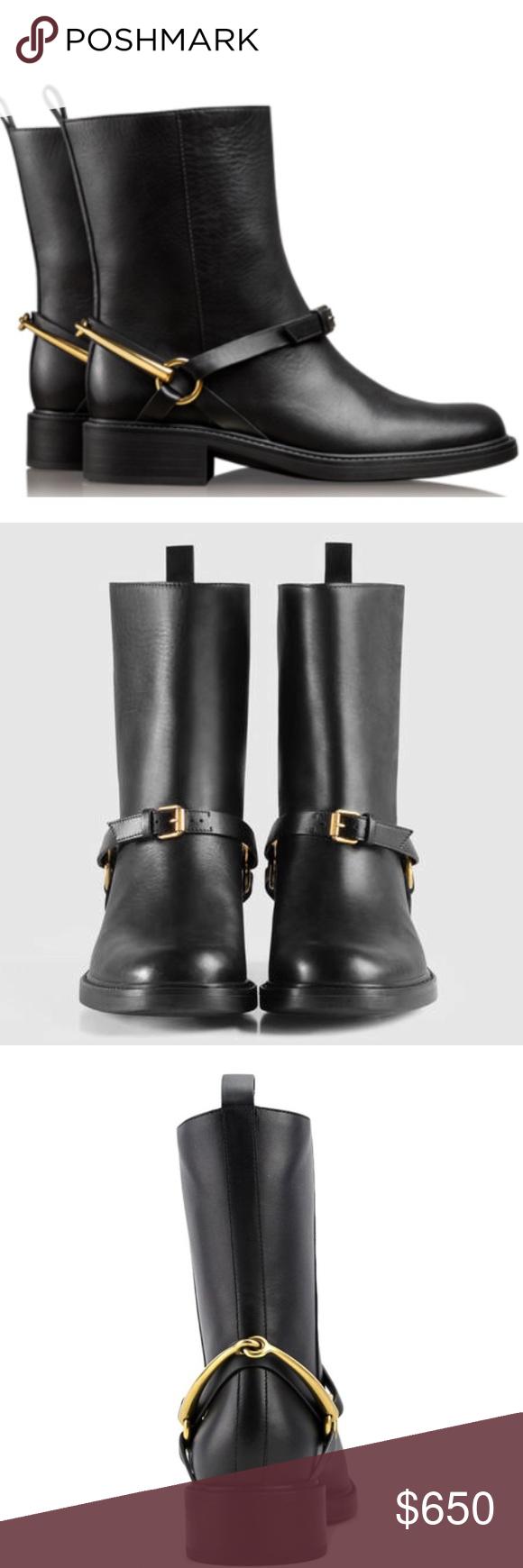 45c777106 •Gucci• Tess Black Leather Horsebit Ankle Boots Gucci Tess Black Leather  Horsebit Ankle Boots
