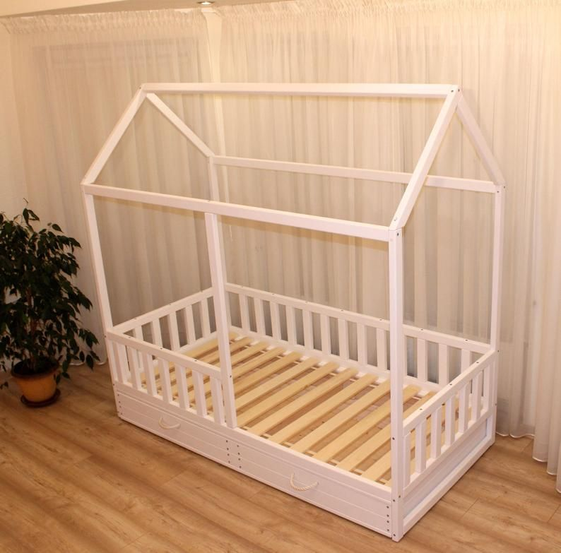 Painted Toddler House Bed With Drawer Or Trundle Montessori Bed In 2020 Kid Beds Toddler House Bed Montessori Bed