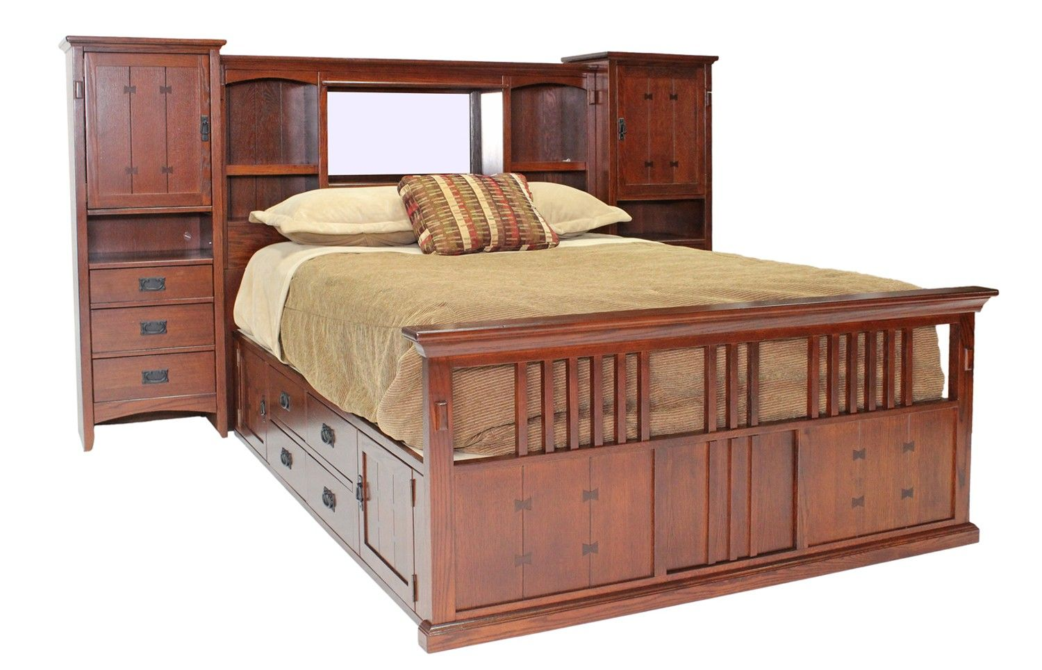 San mateo oak mid wall queen bed with pedestal beds for Queen bed frame and dresser set