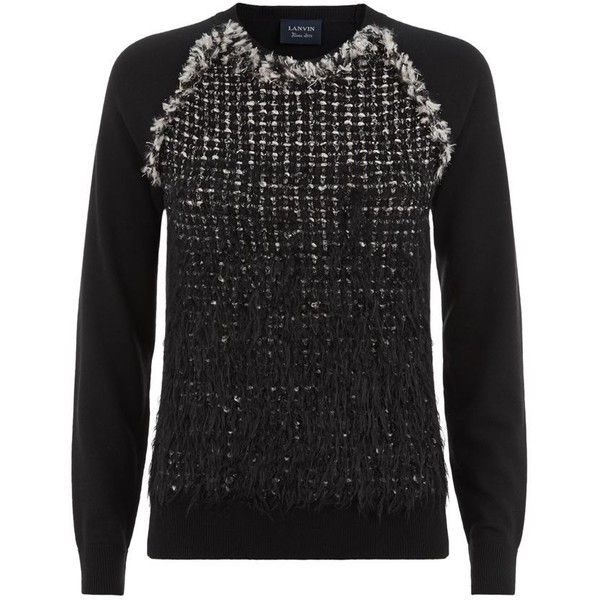 Lanvin Textured Tweed Degrade Sweater ($1,480) ❤ liked on Polyvore