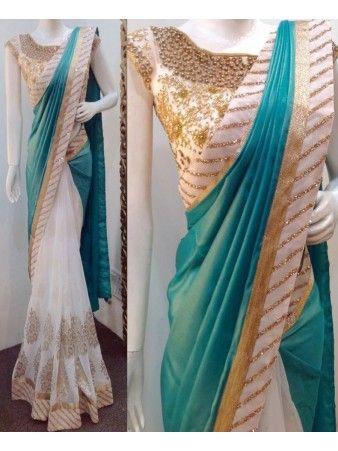 Pakiza Designer Demesne Green White Georgette Silk