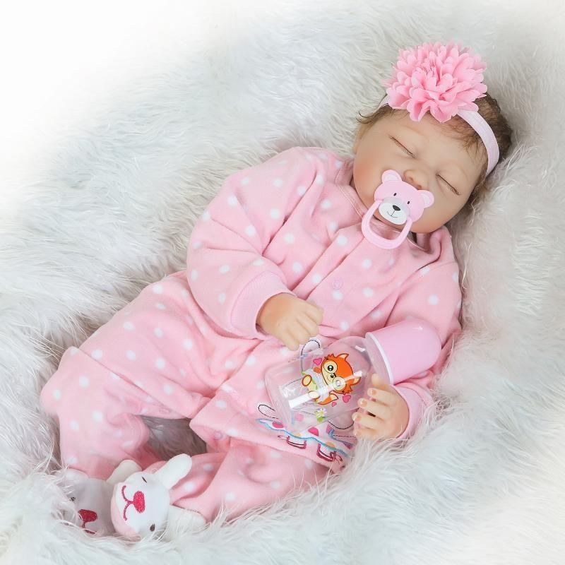 """Reborn Realistic Baby Girl Doll Cloth Body Vinyl Silicone 10/"""" Lifelike Newborn"""
