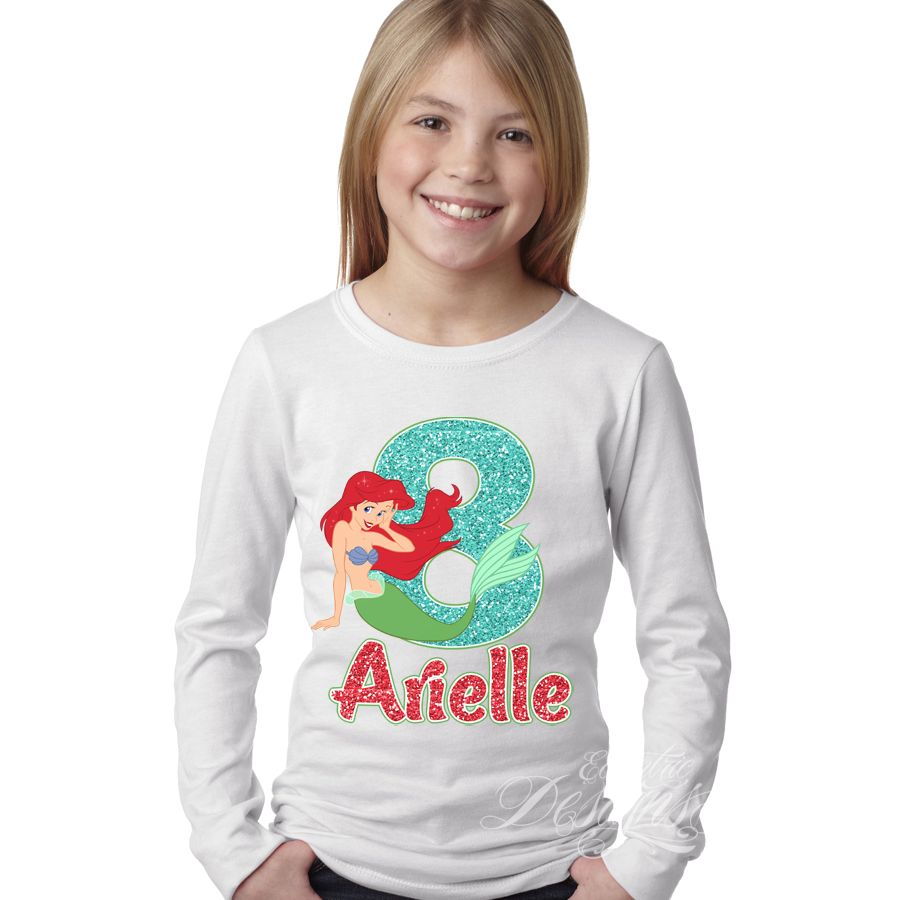 The Little Mermaid (Princess Ariel) - Iron-on Tshirt Transfer (Birthday Party Shirt) / Children Party Ideas / Children Party Themes / Kid Party Ideas / DIY Party Ideas / Birthday Shirt / Birthday Shirt Ideas / Birthday Shirt DIY / Tshirt DIY / Tshirt Transfer DIY Ideas / Birthday Shirt For Girls